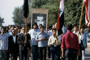 by Bob Fitch - Cesar Chaves leads funeral procession for UFW martyr Nagi Daifullah, 1973. Photo courtesy of the Arab American Institute