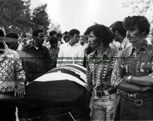 Photo by Cris Sanchez - Mourners with the casket of Nagi Daifullah, 1973. Photo courtesy of the Arab American Institute