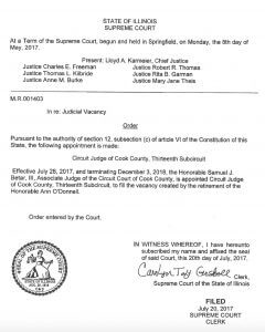 Illinois Supreme Court Order naming Sam Betar to the Cook County, Illinois Circuit Court 2017