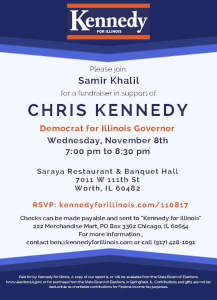 Arab American Democratic Club fundraiser for Christopher Kennedy Nov. 8, 2017