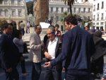 The leader of the New Generation Party Sofiane Djillali in al-Emir Square in Algiers. Photo courtesy of Abdennour Toumi