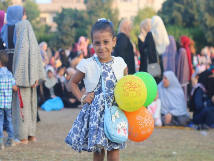 Children join in the celebration of Eid al Adha prayers in Saraya Square in Gaza City in the Gaza Strip. Photos by Ahmad Hasaballah