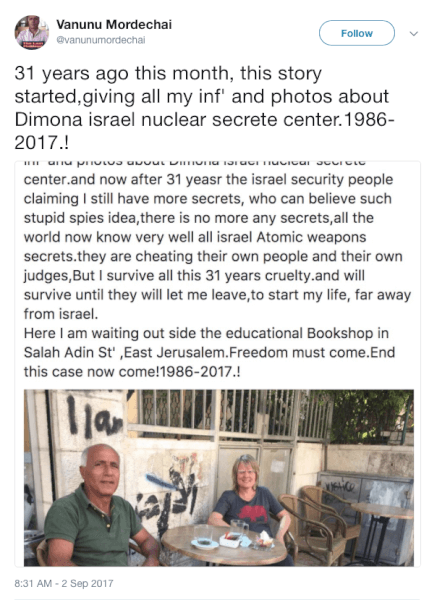 Vanunu Mordechai Israeli Nuclear Whistleblower Talks at Twitter and Wife Talks to Norway