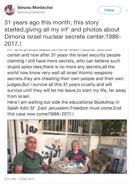 Vanunu Mordechai Israeli Nuclear Whistleblower Talks at Twitter and Wife Talks to Norway