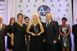 """Michigan Accident Attorney Joumana Kayrouz receives the """"The Economic Bridge Builder of the Year"""" award at the 25th Annual Arab American Chamber of Commerce """"Building Economic Bridges"""" gala Oct. 13, 2017 for her contributions to the business and legal community. Michigan Accident Attorney Joumana Kayrouz (center) is joined by Chamber Exec. Director Fay Beydoun and Board Chairman Ahmad Chebbani. (Photo courtesy of Joumana Kayrouz www.YourRights.com.)"""