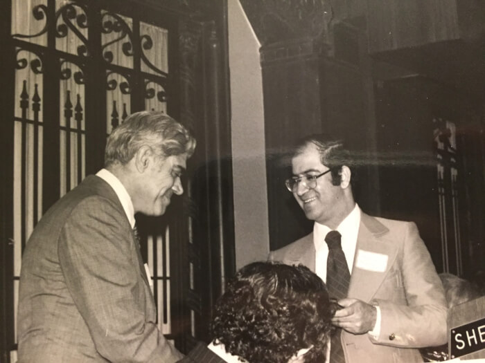 Northwestern Political Science Professor Ibrahim Abu-Lughod receiving an award from the Arab American Congress for Palestine on May 16, 1976, presented by Taki Kalla. Photo courtesy of Ray Hanania