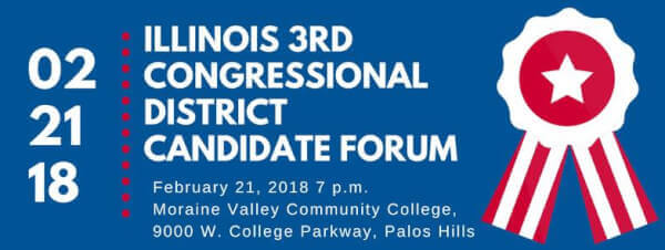 League of Women Voters hosts a forum with Congressman Dan Lipinski and challenger Marie Newman at Moraine Valley Community College on Feb. 21, 2018