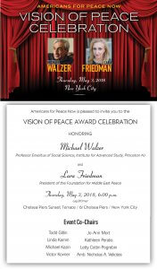 "Americans for Peace Now presents ""Vision of Peace Celebration"" on May 3. @ ChelseaPiers Sunset Terrace"