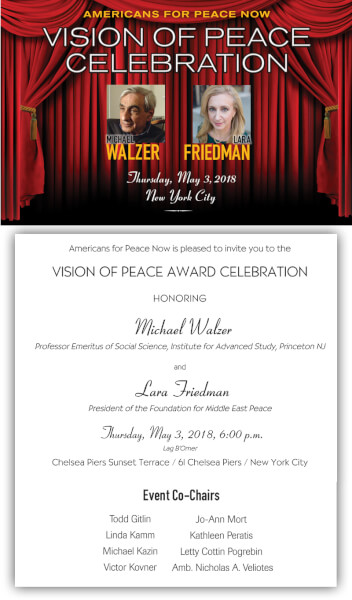 """Americans for Peace Now presents """"Vision of Peace Celebration"""" on May 3."""