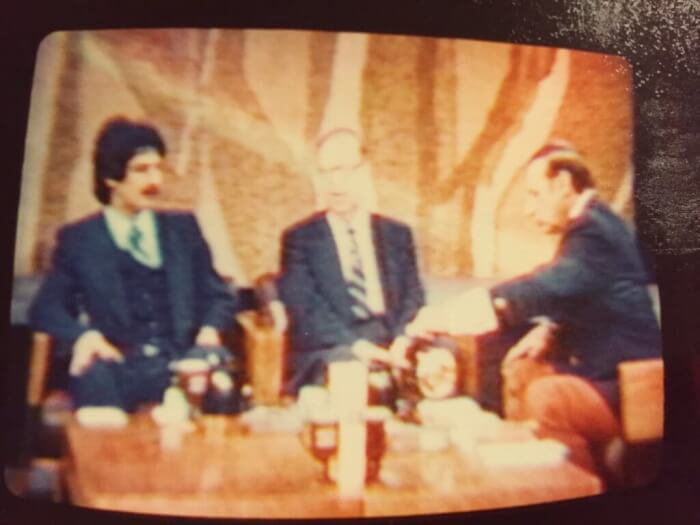 Ray Hanania debating Israeli Foreign Minister Abba Eban on a national broadcast of Kup's Show in early 1976.