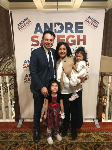 Andre Sayegh, newly elected mayor of Paterson, New Jersey, with his wife and two children