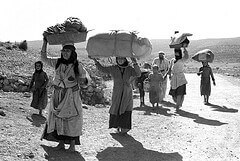 Palestinians flee Israeli violence and terrorism during the war of 1947-48. Photo courtesy of the United Nations