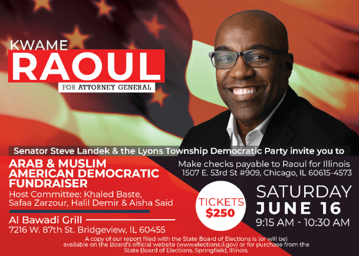 Arab Americans & Lyons Democrats host fundraiser for Kwame Raoul June 16