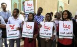Editorial staff of the Sudanese newspaper al-Jarida protest censorship in June 2018 after government officials blocked the distribution of their newspaper because of political content. Photo courtesy of the Committee to Protect Journalists