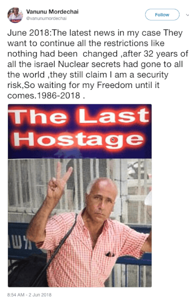 Mordechai Vanunu and 32 years of Security Risks