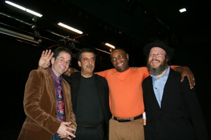 Israeli Palestinian COmedy Tour Charley Warady, Ray Hanania, Aaron Freeman, Yisrael Campbel, Jan. 27, 2007 at Tzavta Theater in Tel Aviv, Israel. The first performance ever of Palestinians and Israelis together.