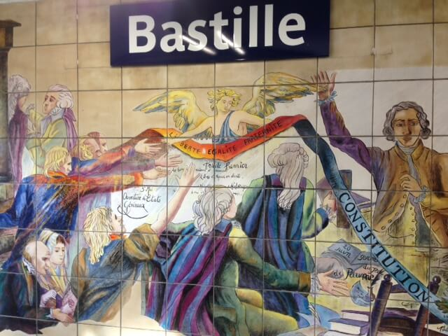 Bastille mural at Bastille Metro Station, Paris. Photo courtesy of Abdennour Toumi
