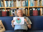 Israeli writer Amos Oz endorsing a documentary detailing how Israeli and Palestinian doctors are working together to provide healthcare for Palestinian children. Photo courtesy of Americans for Peace Now