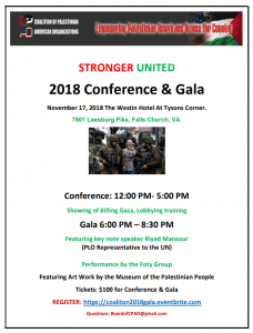 Riyad Mansour to keynote Palestine Conference Nov. 17 @ Westin Hotel at Tysons Corner