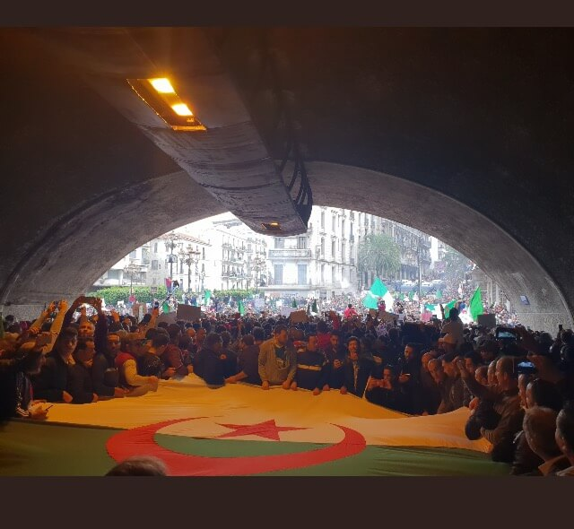Algerians gather. Photo courtesy posted by Ali Mela h tunnel des Facultés Algiers