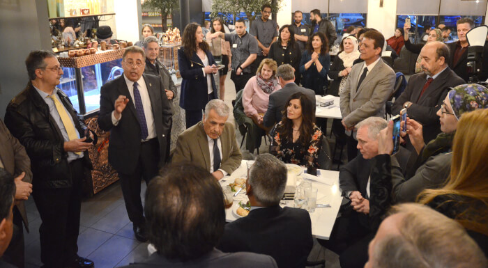 Elected officials and Arab community leaders at the Arab American Heritage celebration at Oozi Restaurant April 10, 2019. Photo courtesy of Anthony Caciopo