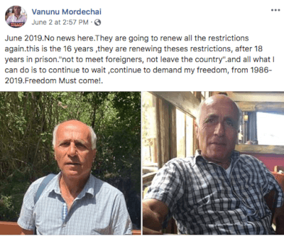 Vanunu Mordechai's 34th Year Captivity Continues at Facebook
