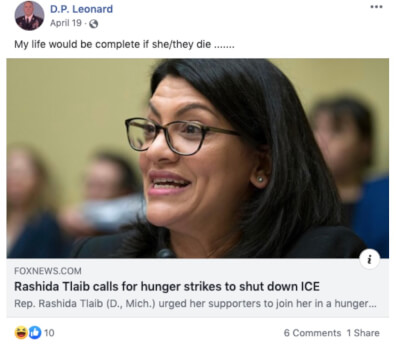 Calls for New Jersey official's resignation after threatening Tlaib on Facebook
