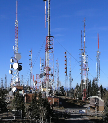 Radio antenna towers Sandia Peak wikipedia