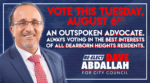 Dave Abdallah, Dearborn Heights City Council, August 7, 2019, Primary Election