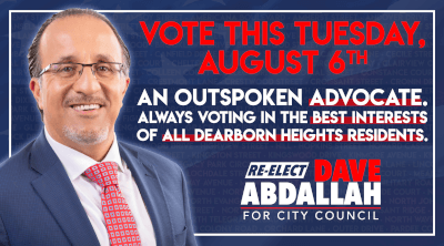 Dave Abdallah campaigns for re-election at Dearborn Heights City Council