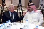 US Ambassador to Saudi Arabia John Abizaid (L) with Saudi Ambassador to Yemen Mohammed bin Saeed Al Jabir at the 'Stabilization 2' Workshop in Riyadh, Saudi Arabia