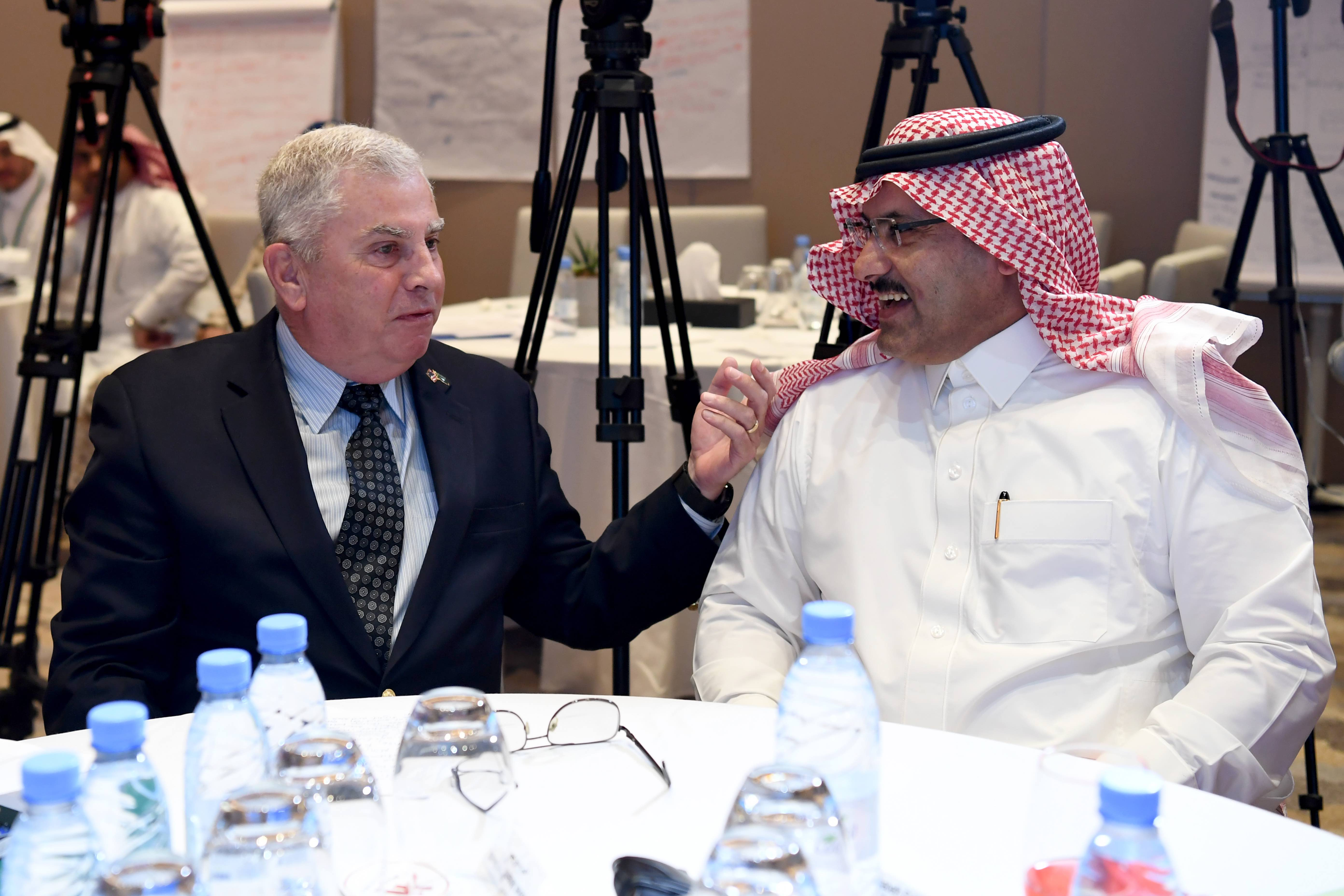 US Ambassador to Saudi Arabia John Abizaid (L) with Saudi Ambassador to Yemen Mohammed bin Saeed Al Jabir at the 'Stabilization 2' Workshop in Riyadh, Saudi Arabia