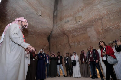 """They were astonished by the heritage of Al-Ahsa """"the Arab Tourism Capital 2019"""" Photo courtesy of Saudi Commission for Tourism and National Heritage"""