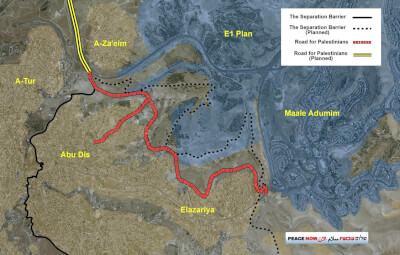 "The new road is intended to allow Palestinians to pass under the route of the separation barrier, and to travel ""inside"" the Adumim Bloc along a wall without entering the ""Israeli"" side, as in a kind of tunnel."