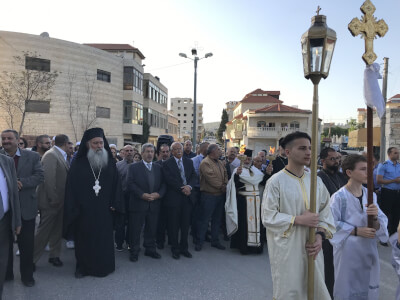 (Taybeh 2019): not known this year if Christians will be allowed to celebrate Miracle of Holy Fire in public streets as is tradition in most ancient village of Taybeh (Biblical Ephraim). Photo courtesy of Dr. Maria Khoury.