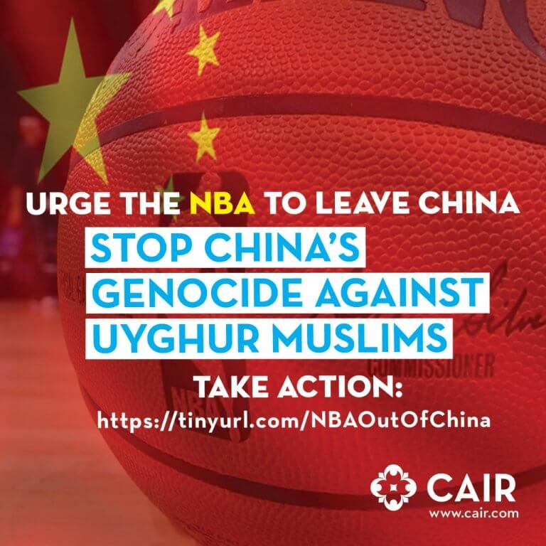 CAIR urges NBA to boycott China over killings of Uyghur Muslims. Image courtesy of CAIR