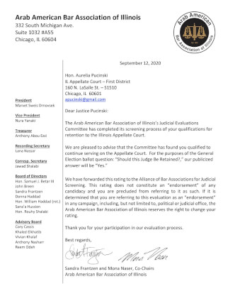 Arab Bar Association support for retention of Illinois Appellate Court Justice Aurelia Pucinski