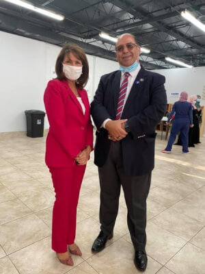 Democratic endorsed candidate Marie Newman with American Arab Chamber of Commerce President Hassan Nijem, at rally Sept. 4, 2020 hosted by the American Arab Chamber of Commerce and American Palestine Club. Photo courtesy of the American Arab Chamber of Commerce