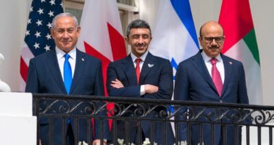Israeli Prime Minister Benjamin Netanyahu, left, United Arab Emirates Foreign Minister Abdullah bin Zayed al-Nahyan, and Bahrain Foreign Minister Khalid bin Ahmed Al Khalifa stand on the Blue Room Balcony during the Abraham Accords signing ceremony on the South Lawn of the White House, Tuesday, Sept. 15, 2020, in Washington. (AP Photo/Alex Brandon courtesy of the Arab News Newspaper