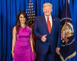 Indians for Trump activist Mrinalini Kumari with President Trump. Photo courtesy of Mrinalini Kumari.