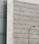 The Newseum's depiction of the five freedoms guaranteed by the First Amendment to the US Constitution in Washington, D.C..Photo courtesy of Wikipedia