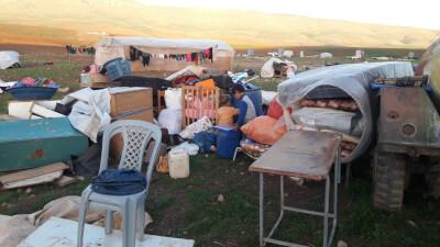 Community of Khirbet Humsah after demolition, 2 Feb. 2021. Photo credit: 'Aref Daraghmeh, B'Tselem