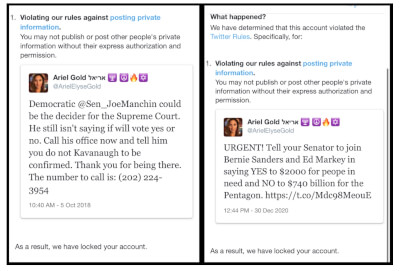 Twitter Censorship. On February 24, 2021, Twitter suspended the account of CODEPINK co-executive director Ariel Gold, a prominent activist for Palestinian rights. Photo courtesy of Code Pink