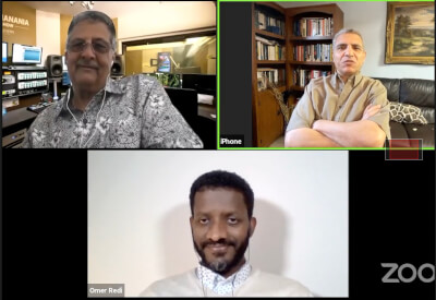 The Ray Hanania Radio Show July 21, 2021 Zoom with RayHanania. Egyptian Mohamed Elsetouhi and Ethiopian Omer Redi Ahmed. Photo from Zoom broadcast