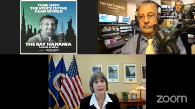 Congresswoman BettyMcCollumn on The Ray Hanania Radio Show Sept. 1, 2021 on the US Arab Radio Network sponsored by Arab News