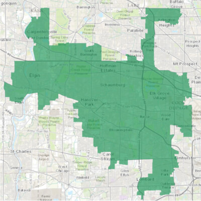 Map of the 8th Congressional District in Illinois