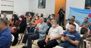 Audience at Palestine Club as Congresswoman Marie Newman of Illinois speaks during forum in Bridgeview, Illinois Sept. 26, 2021 on Israel's Iron Dome, and strategy to achieve peace through justice