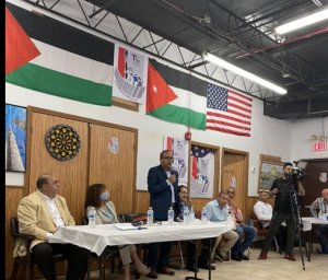 Congresswoman Marie Newman of Illinois during forum in Bridgeview, Illinois Sept. 26, 2021 on Israel's Iron Dome, and strategy to achieve peace through justice