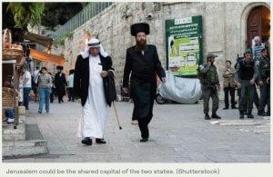Jerusalem image of Jews and Arabs walking together. Shutterstock. Courtesy of Arab News Newspaper